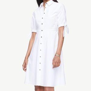 Ann Taylor Poplin Tie Sleeve Shirt Dress